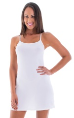 Beach Cover Up Flare Mini Dress in Semi Sheer ThinSKINZ White 1