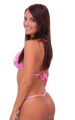 Womens Adjustable G String Swimsuit Bottom in Metallic Mystique Bubblegum 3