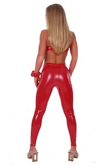 Womens Leggings - Fashion Tights in Stretch Gloss Red Vinyl 3