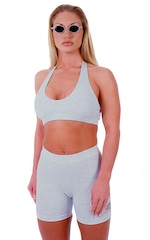 Womens Sport Halter Top in Heather Grey Cotton-Spandex 10oz 4