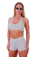 Womens Sport Halter Top in Heather Grey Cotton-Spandex 10oz 1