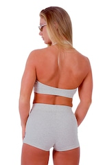 Womens Sport Halter Top in Heather Grey Cotton-Spandex 10oz 3