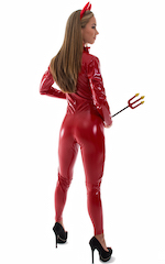 Sexy Halloween Devil Catsuit in Red Superstretch Vinyl/Lycra 3