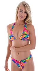 Womens Shaped Triangle Swimsuit Comfort Ties Top in Hawaiian Tropical 1