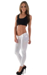 Womens Super Low Rise Leggings in Holographic White-Silver ...