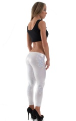 Womens Super Low Rise Leggings in Holographic White-Silver Shattered Glass 3
