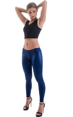 Womens Super Low Rise Fitness Leggings in Wet Look Navy Blue Nylon-Lycra 1