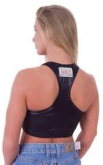 Womens Sport Top in Wet Look Black 3