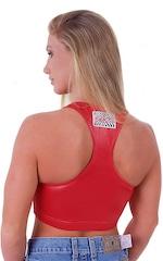 Womens Sport Top in Wet Look Lipstick Red 3