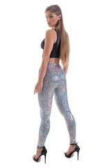 Womens Leggings - Fashion Tights in Metallic Holographic Diamonds 3