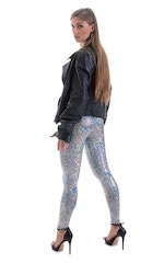 Womens Leggings - Fashion Tights in Metallic Holographic Diamonds 5