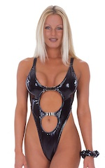 Womens One Piece Thong Swim Suit in Gloss Black Vinyl 1