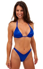Womens Shaped Triangle Swimsuit Top in Wet Look Royal Blue 1