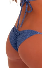 Womens Side Tie Competition Scrunchie Bikini Bottom in Faded Denim stretch-lycra 5