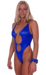 One Piece Keyhole Rio Bikini in Wet Look Royal Blue 1