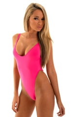 One Piece Thong Bikini in Semi Sheer ThinSKINZ Hot Pink 1