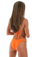 High Cut Scrunch Brazilian Bikini Bottom in Neon Orange Swimsuit Bottom 3