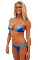 2 Panel Triangle Swim Top in Wet Look Royal Blue and Turquoise 1