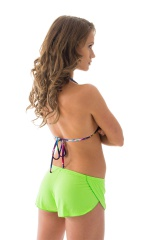 SusieQ Split Short Beach Cover-Up in ThinSKINZ Neon Lime 3