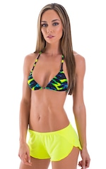 SusieQ Split Short Beach Cover-Up in Semi Sheer ThinSKINZ Chartreuse 1