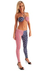 Womens Low Rise Leggings - Fashion Tights in Stars and Stripes nylon/lycra 1