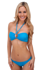 Surfer Girl Runched Swimsuit Bottom in Wet Look Turquoise 3