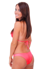 Surfer Girl Runched Swimsuit Bottom in Brilliant Coral 3