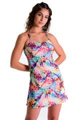 Cover Up Mini Dress in Tan Through Retro Tie Dye 1