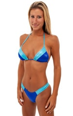2 Panel Triangle Swim Top in Wet Look Royal Blue and Turquoise 4