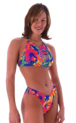 womens beach volleyball tie halter top in Hawaiian Tropical 1